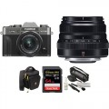 FUJIFILM X-T30 Mirrorless Digital Camera with 15-45mm and 35mm f/2 Lenses and Accessories Kit (Charcoal Silver)