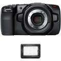 Blackmagic Design Pocket Cinema Camera 4K Kit with LitraPro Bi-Color On-Camera LED Light