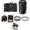 FUJIFILM X-T30 Mirrorless Digital Camera with 15-45mm and 50-230mm Lenses and Accessories Kit (Black/Black)