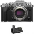 FUJIFILM X-T4 Mirrorless Digital Camera Body with Battery Grip Kit (Silver)